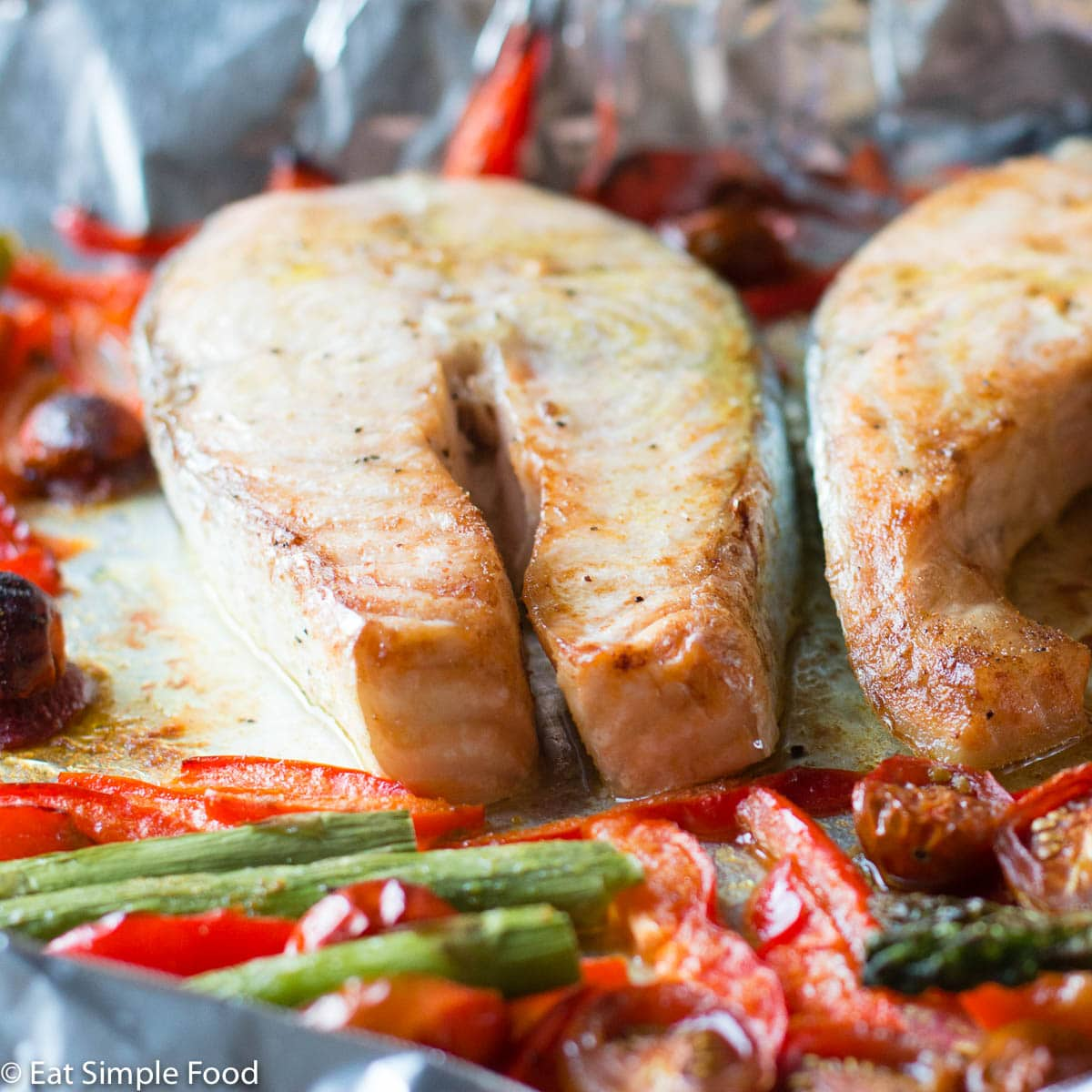 Easy One Pan Baked Mediterranean Salmon